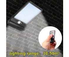 48 LED Solar Power PIR Sensor de movimiento Lámpara calle al aire libre Foco Exterior LED Luces Pared Lamparas (Negro, Without bracket)
