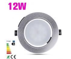 4x 12W techo foco LED aluminio Empotradas Lluminación Lámpara Conjunto Empotrada Focos bombillo 5730 110V-240V Acero Inoxidable Luz de Techo