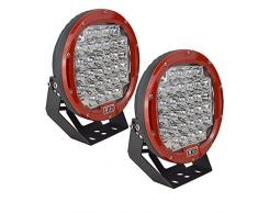 "AUXTINGS 9"" 96W Red Spot Redondo LED Luz de Trabajo Bar Off Road Luces Antiniebla Conducción Barra de Techo Parachoques para Off Road SUV Barco Lamp(Rojo)"