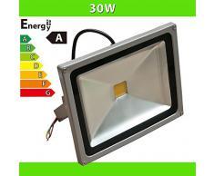 LEDVero Foco iluminado LED 30 W Foco reflector con cable de alimentación