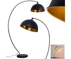 Lámpara de pie Miranda, de metal en negro/oro, 1 x E27, máx. 60 vatios, diseño retro/vintage con interruptor en el cable, aspecto de lámina de oro, adecuada para bombillas LED, ideal para salón