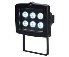 Electraline 63017 - Proyector halógeno con detector (6 W, 6 LEDs), color negro