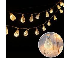Dailyart 6.5FT(2M) Elegantes Gotas Luz LED de Cadena, Cálido Resplandor Blanco, a pilas