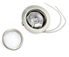 Juego de foco empotrable color: cromo brillante | 12 V 20 W, bombillas incluidas (intensidad regulable) | Agujeros de perforación: 55-60 mm - Diámetro exterior: 72 mm - Profundidad de montaje: 19 mm | Bombillas - también para LED G4 apto lámparas