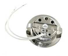 Juego de foco empotrable color: acero inoxidable cepillado | 12 V G4 20 W, bombillas incluidas (intensidad regulable) | Agujeros de perforación: 55-60 mm - Diámetro exterior: 72 mm - Profundidad de montaje: 19 mm | Bombillas