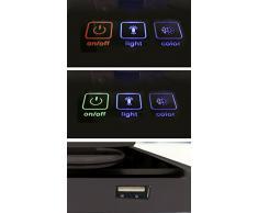 CristalRecord Toke - Lámpara flexo LED, 9 W, 3 tonos de luz y encendido táctil, puerto USB