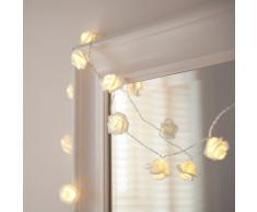 Lights4fun Guirnalda DE 20 Luces de LED de Rosas Blancas (de Pilas)