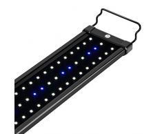 NICREW Luz LED Acuario, Pantalla LED Acuario, Iluminación LED para Acuarios Plantados Lámpara LED para Peceras 53-83 cm, 11W, 7000K con Enchufe