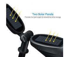 2 Unidades Lámparas Solares de IP65 Impermeable,Mpow Spotlight Mejorada / Foco Solar con Dos Paneles Solares Apoyo de Auto-On / Off Sensor de Luz y Batería Incorporada con Dos Modos de Funcionamiento para para Iluminación y