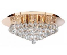 Searchlight 3406-6GO Hanna - Plafón de cristal para lámpara de techo, 6 luces, color dorado y transparente