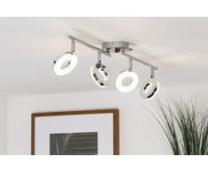 - Lámpara de techo LED, 330 lúmenes, de cromo, chrom, 4 focos[Clase de eficiencia energética A+]