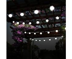 Bombillas de Luz Solar,KINGCOO Impermeable 10 LED Globo Bola Luces Decorativas de Cadena para Interior/Exterior,Jardín,Decoraciones de Navidad Iluminación (Blanco)