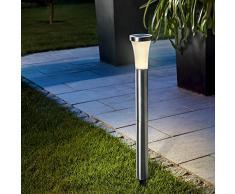 Esotec, lámpara de pie de energía Torre de luz solar, de acero inoxidable, 59 cm, blanco cálido (2800 K warmweiß)