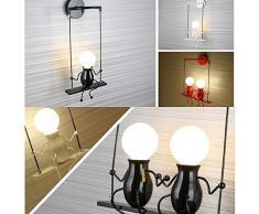 FSTH Creativo Lámparas de Pared Simple Fashion Doll Swing Lámpara de Pared Moderna Apliques de Pared Metal Lámpara de Pared para Dormitorio, Escalera, Pasillo, Restaurante, Cocina E27 (Blanco)