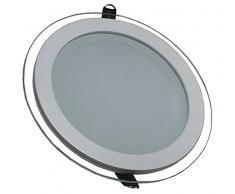 V-TAC 4743 - Luminaria de techo empotrable redonda led (cristal 12 W 3000 K luz blanca fría 1080 lm ángulo de dispersión de 120° 160 x 40 mm con fuente de alimentación no regulable VT-1202G RD)