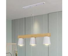 ZTLEUCHTE moderno luces colgantes nórdicas elegante araña de madera Metallo pantalla blanca Lámpara colgante de la vendimia ajustable altura iluminación decorativa para cafetería fiesta bar comedor E2