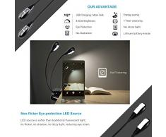 Ipow-Lámpara 4 LED Flexible y Recargable de Escritorio con Clip para lectura, Lámpara portátil adjustable con la carga del USB para leer,trabajar,viajar,ect. Color Negro