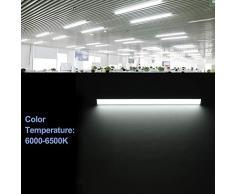 Viugreum tubo fluorescente 60cm. Regleta led 30W, Oficina Garaje Supermercado Gimnasios Balcón Cocina Supermercados,Tubo led integrado, 3000 LM,6500K (30W Blanco frio)