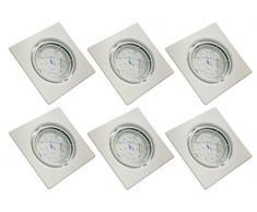 Trango Conjunto de 6 ultra-delgado luz de techo iluminación empotrada empotrada focos LED cuadrado en blanco TG6729-066SMOSD incl. 6x regulable módulo LED solamente 30 mm de profundidad de montaje directamente 230V