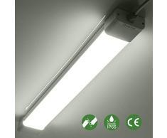 Anten 18W 60cm Pantalla Éstanca LED 6000K, 1600Lm Blanco Frío Tri-Proof Regleta/Tubo LED Integrado para Interiores, Exteriores, Garaje