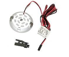 12 V LED lámpara para instalar en muebles/Foco empotrable Gabi cromo 1,2 Watt luz blanca cálida (ideal para muebles, cocina, habitación infantil, oficina etc.)