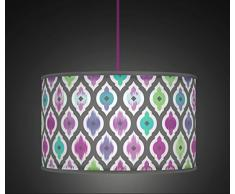 "20 cm (8 "") Color Morado Multi Retro geométrico giclée de mano estilo impreso lámpara de tela Pantalla de lámpara suelo o techo 514 Aqua Verde"