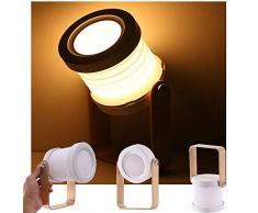 ALLOMN Luz de Mesa de Escritorio, luz de Noche Telescópica Plegable Portátil Luz de Lectura LED Lámpara de linterna con Mango de Madera, Brillo Regulable de 3 Niveles, Carga USB, Cuidado de los Ojos