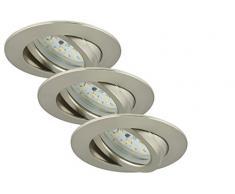 Briloner Leuchten luz LED empotrada, foco conjunto de 3 orientable, 3 x 5 W, 3 x 400 lm, 3000 K, bajo consumo, clase de eficiencia energética A +, matt/níquel 7209-032
