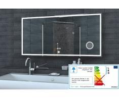 Lux-Aqua espejo de pared espejo con luz LED reloj de pared espejo del baño de espejo de maquillaje interruptor táctil en diferentes tamaños a elegir, 120 x 60 cm
