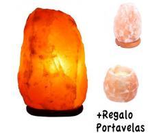 Lámpara de Sal Natural del Himalaya - 2/3 kg + Portavelas Regalo - Recomendado Feng Shui