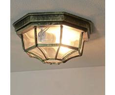 Rústico exterior plafón exterior lámpara en oro viejo E27 hasta 100 W IP54 para jardín patio exterior lámpara de techo lámpara iluminación
