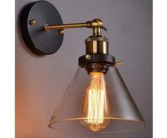 Maxmer Apliques de Pared Luz Vintage Industrial Lámpara de Pared, Casquillo E27, Color Cristal