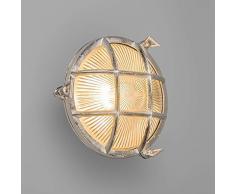 QAZQA Industrial, Clásico/Antiguo, Rústico Aplique/ Plafón NAUTICA redondo níquel, Vidrio, Otros metales, Ovalada / Adecuado para LED E27 Max. 1 x 60 Watt