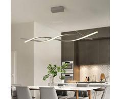 Iluminación Colgante LED 46W Luz Lámpara Pendiente Aluminio Lámpara De Suspensión Moderna Minimalista Creativo Altura Regulable Lámpara De Techo Comedor Estudio Araña,Gris,100cmSteplessdimming