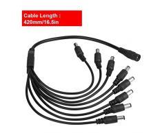 Conectores de cable de alimentación de CC para el sistema de alimentación de la cámara de vigilancia de seguridad CCTV y tiras de LED Conexión de iluminación (5.5x2.1mm) 8 Cable adaptador divisor