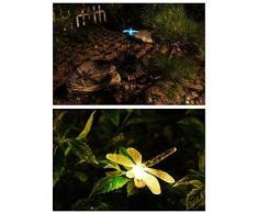 Energía Solar Superdream del colibrí, mariposas y libélulas estaca del jardín con LED que cambia de Color