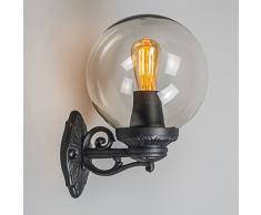 QAZQA Clásico/Antiguo, Rústico Aplique BASSO negro for Outdoor use, Plástico, Esfera / Adecuado para LED E27 Max. 1 x 60 Watt