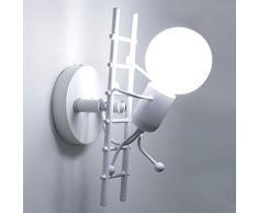 HAWEE Humanoide Creativo Lámpara de Pared Interior Luz de Pared Moderno Apliques de Pared Art Deco Max 60W E27 Base para Niños, Dormitorio, Escaleras, Cocina, Pasillo, Restaurante, Blanco