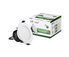 LE Luces de techo LED empotradas, 4W, equivalente halógeno 30W, 210lm, blanco diurno 6000K, haz de luz de 90°, luz empotrada, 4 unidades