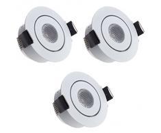 Sensati T096 W - Lámpara de techo con 3 focos LED (3 focos planos y de tamaño pequeño, intensidad regulable, 630 lm, incluye controlador, luz blanca cálida, carcasa de color blanco)
