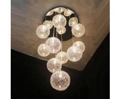 "Alambre de 14 ""nuevo 10 luces con aluminio bolas de cristal Parlor – Lámpara de techo Moderno escaleras, salón cocina comedor techo"