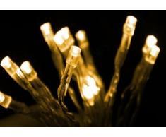 Guirnalda luminosa LED con 20 luces (luz blanca cálida, funcionamiento con pilas, cable transparente, larga duración)