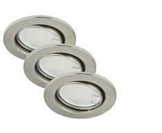 Briloner Leuchten luz LED empotrada, foco conjunto de 3 orientable en níquel mate 3 x GU10 3 W, IP23, 7208-032