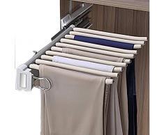 Fkdeyijia De una hilera de Armario de almacenaje del Organizador del Estante Push-Pull Percha for almacenar 10 de los Pantalones Vaqueros Bufanda, SGS amortiguadas, rieles de Deslizamiento-White