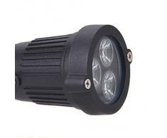 Lixada 3 LED Foco sumergible del jardín / césped / paisaje luz del piso Lámpara impermeable 9W