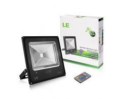 LE Control Remoto RGB 50W Proyectores LED, Luz que Cambia de Color de Seguridad, 16 Acabados y 4 Modos, Luz de Inundación del LED Impermeable, Enchufe de la UE, Arandela de la Pared Luz