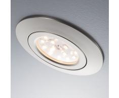 Lámpara de techo LED empotrable Ø 82 mm I Foco de techo plano y redondo I En níquel mate I Kit de 12 unidades I 230 V I IP23 I 12 x 5 W