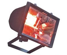 Buffalo Impermeable Infrarrojo Calentador De Lámpara con Exterior Luz y Soporte, 1.2 Kilovatio, Negro