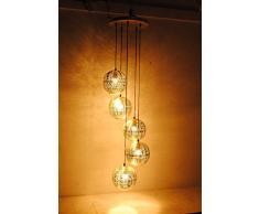 Buyer Bazaar - Juego de 5 lámparas de techo marroquíes hechas a mano (20 x 20 x 22 por bola), diseño moderno de orbos plateados, 40 W