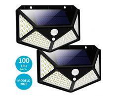 Luz Solar Exterior LED, FLUXS, Foco Solar Exterior con Sensor de Movimiento, Impermeable e Inalámbrico, 3 Modos de Iluminación, Ángulo 270°, Para Jardín o Garaje - Pack de 2 uds